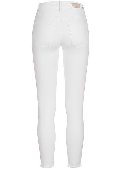 ONLY Damen NOOS Ankle Skinny Jeans Hose Mid-Waist Fransen am Beinabschluss weiss denim