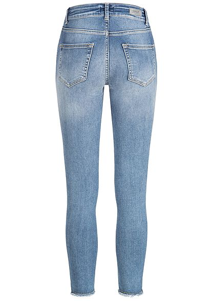 ONLY Damen NOOS Ankle Skinny Jeans Hose 5-Pockets Destroy Optik hell blau denim