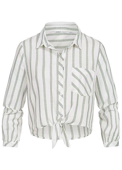 4694a3540e19 ONLY Damen Bluse Bauchfrei zum Binden Streifen Muster 1 Brusttasche weiss  grün