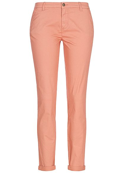ONLY Damen Skinny Chino Hose 4-Pockets Beinumschlag NOOS dawn rosa
