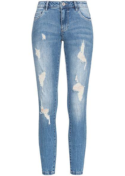 c90992874eeec6 ONLY Damen Skinny Jeans Hose 5-Pockets Heavy Destroy Look medium blau denim  - 77onlineshop