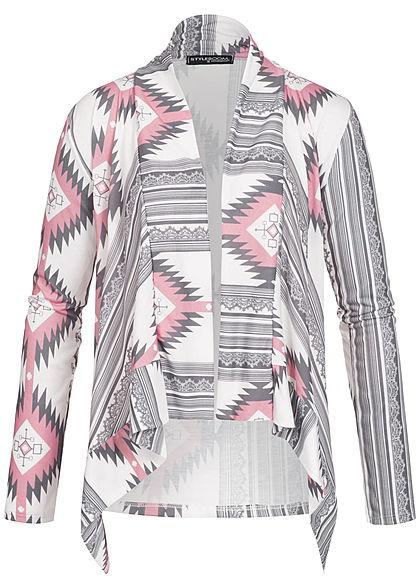 db654d83a163db Styleboom Fashion Damen Kurz Cardigan Azteken Muster vorne länger weiss rosa  grau - 77onlineshop