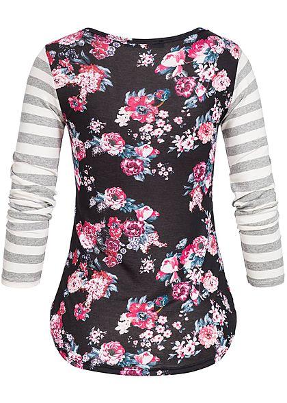 Styleboom Fashion Damen Longsleeve Blumen & Streifen Muster schwarz rosa weiss grau