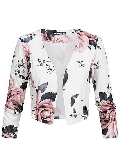 Styleboom Fashion Damen Bolero kurzer & offener Schnitt Blumen Print ...
