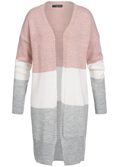 663fa44ae6 Styleboom Fashion Damen Longform Strick Cardigan rosa weiss grau -  77onlineshop