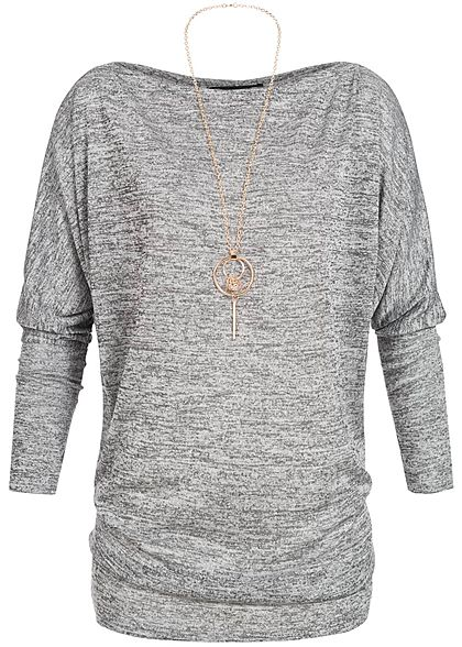 Styleboom Fashion Damen Fledermaus Shirt inkl. Kette medium grau melange