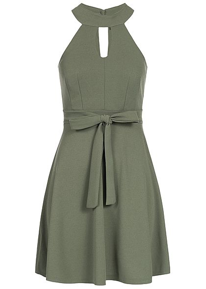 4e068de6a955dd Styleboom Fashion Damen Choker Kleid Brustpads Bindegürtel Zipper hinten  military grün - 77onlineshop