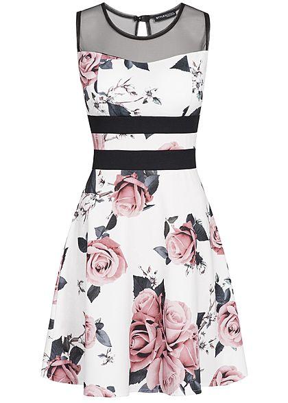 f9c1bb9bff6029 Styleboom Fashion Damen Mesh Dress Rose Print Stripes weiss schwarz rosa -  77onlineshop