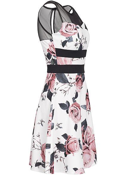 Styleboom Fashion Damen Mesh Mini Kleid Rosen Print Streifen weiss schwarz rosa