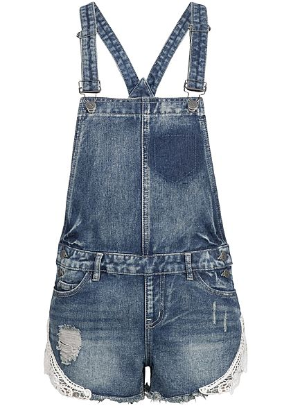 Heiß-Verkauf am neuesten Sonderpreis für klar in Sicht Seventyseven Lifestyle Damen kurze Latzhose 5-Pockets Häkelbesatz medium  blau denim