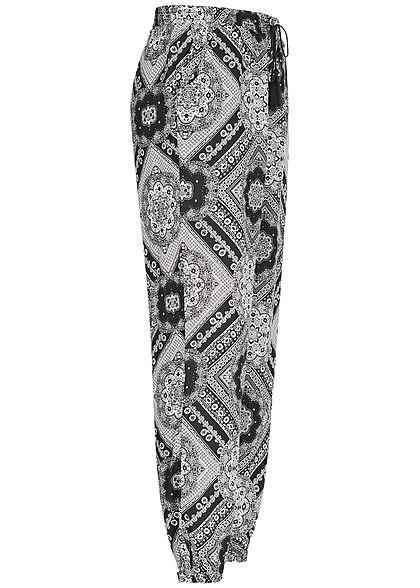 Seventyseven Lifestyle Damen Sommer Hose Mandala Muster 2 Taschen schwarz weiss