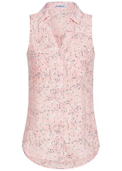 lowest price 98957 7f3d9 Seventyseven Lifestyle Damen Bluse 2 Brusttaschen Blumen Muster rosa weiss  grau