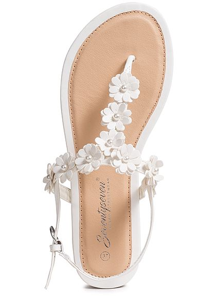 Seventyseven Lifestyle Damen Flower Toe Post Sandals weiss