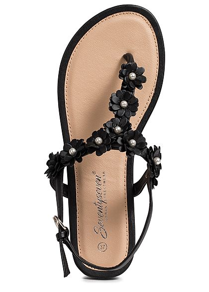 Seventyseven Lifestyle Damen Flower Toe Post Sandals schwarz