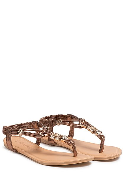 Seventyseven Lifestyle Damen Toe Post Sandals Pearls braun