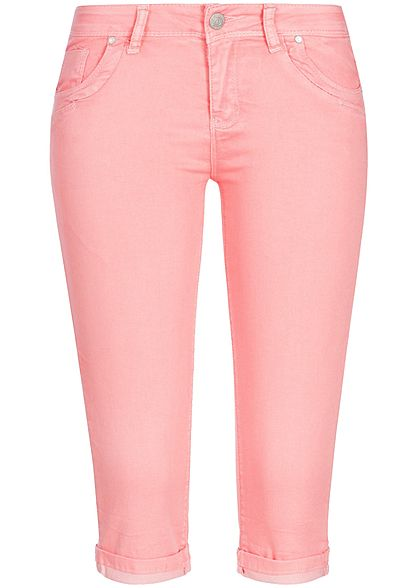 Seventyseven Lifestyle Damen Capri Jeans Hose 5-Pockets strawberry rosa