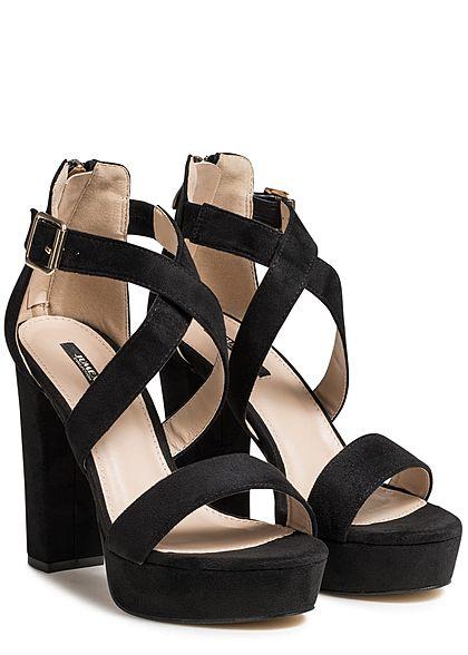 Seventyseven Lifestyle Damen Schuh Sandalette Blockabsatz 11,5cm Kunstleder schwarz