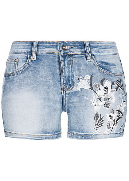 Seventyseven Lifestyle Damen Jeans Short 5-Pockets Blumen Patch Perlen hell blau denim