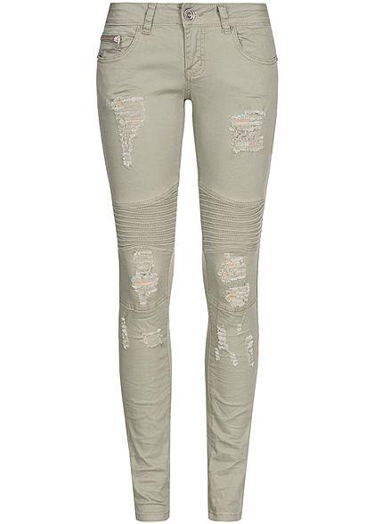 2aa716a199ee23 Seventyseven Lifestyle Damen Biker Jeans Hose Heavy Destroy 4-Pockets khaki  denim - 77onlineshop