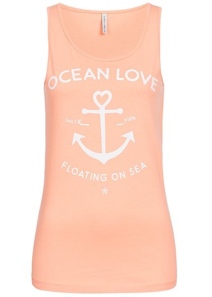 Eight2Nine Damen Tank Top Anker Print by Urban Surface hell apricot orange  weiss - 77onlineshop