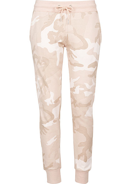 Seventyseven LifestyleTB Damen Terry Sweat Pants Camouflage Design rosa