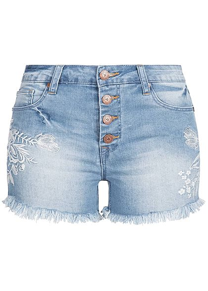 Aiki Damen Jeans Short 5-Pockets Blumen Patch Fransen hell blau denim