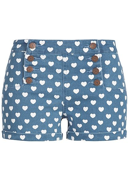 Aiki Damen Short Herz Muster Deko Knopfleisten light blue denim weiss