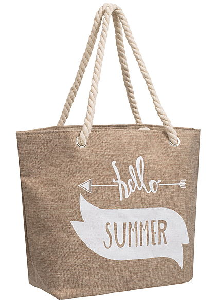 Styleboom Fashion Damen Shopper Breite: 50cm Höhe:35cm Hello Summer Print braun