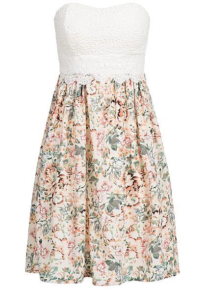 Muster Bandeau Kleid Seventyseven Beige Damen Blumen Weiss Lifestyle Häkeloptik WH9IED2