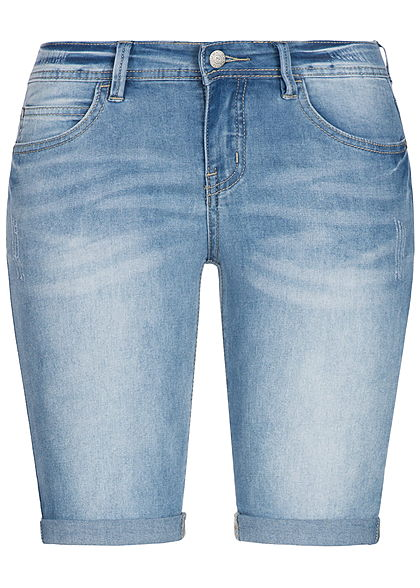 Seventyseven Lifestyle Damen Short 5-Pockets Beinumschlag hell blau denim