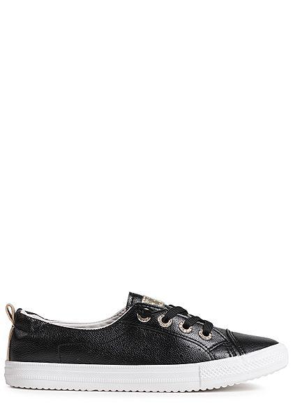 867fc547722cdf Seventyseven Lifestyle Schuh Damen Sneaker zum Schnüren Lochmuster schwarz  - 77onlineshop
