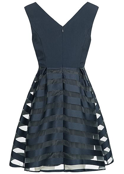 ONLY Damen Mini Kleid 2-lagig Streifen night sky blau