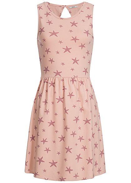 M · L · ONLY Damen Sweat Kleid Seestern Muster Rückenausschnitt smoke rosa 741517a89d