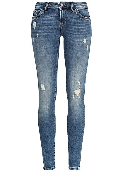ONLY Damen Skinny Jeans Hose 5-Pockets Destroy Look NOOS medium blau denim