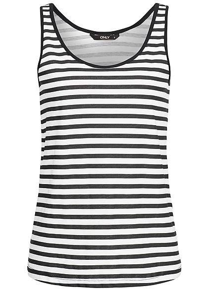 ONLY Damen Tank Top Streifen Muster weiss schwarz - 77onlineshop 08a89b5ad7