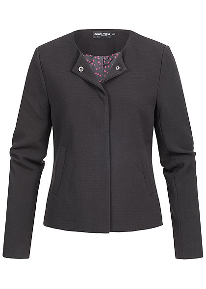 ONLY Damen kurze Blazer Jacke 2 Taschen Druckknopfverschluss schwarz