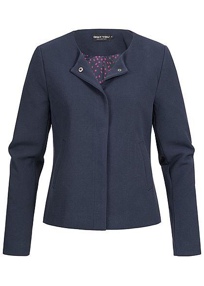 ONLY Damen kurze Blazer Jacke 2 Taschen Druckknopfverschluss night sky blau