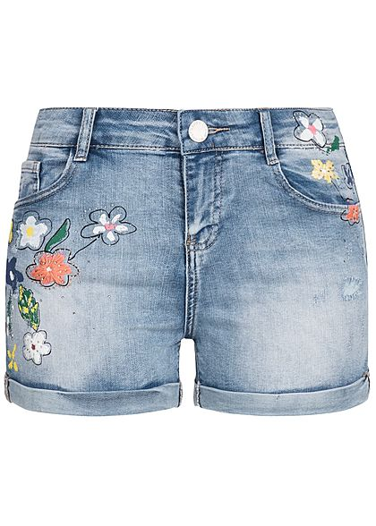 Hailys Damen Shorts Blumen Patch & Malerei 5-Pockets hell blau denim