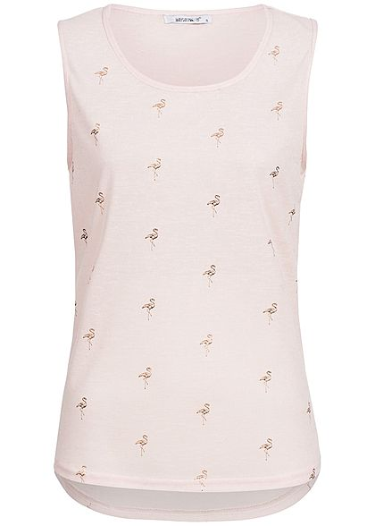 Hailys Damen Top Flamingo Muster rosa gold