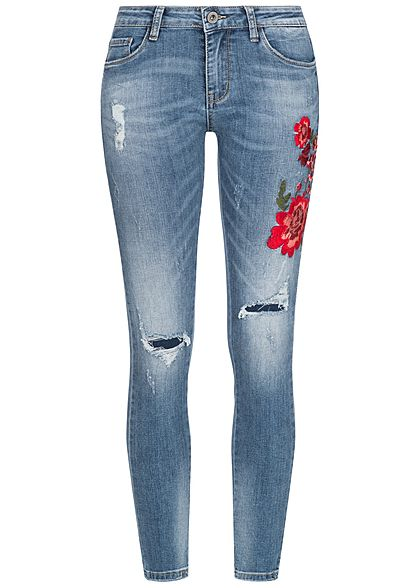 df16d50e6e2dc9 Hailys Damen Jeans Hose Blumen Patch Destroy Look 5-Pockets medium blau  denim rot
