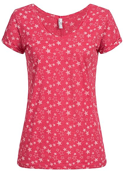 Eight2Nine Damen T-Shirt Sterne Muster by Sublevel orchid pink