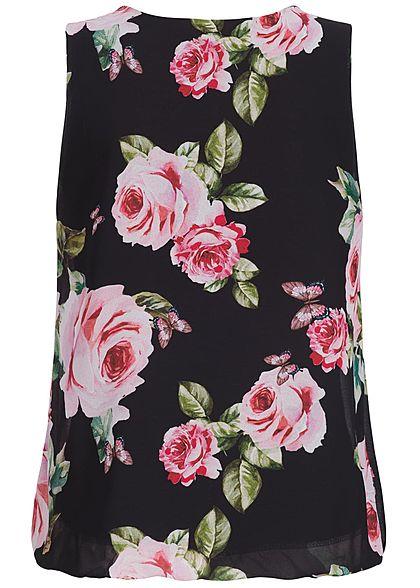 Styleboom Fashion Damen Chiffon Top Röhrchen Detail Blumen Muster schwarz rosa