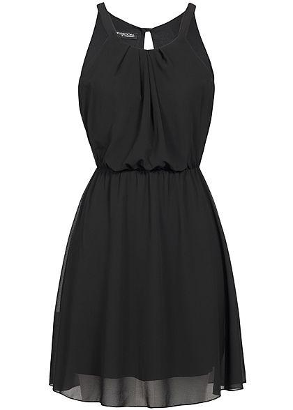 Styleboom Mini Fashion 2 lagig Kleid Damen schwarz Chiffon ygY7vb6f