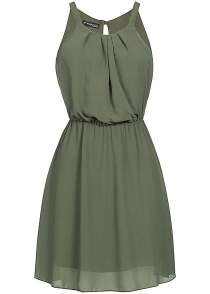 Styleboom Fashion Damen Mini Chiffon Kleid 2-lagig military grün ...