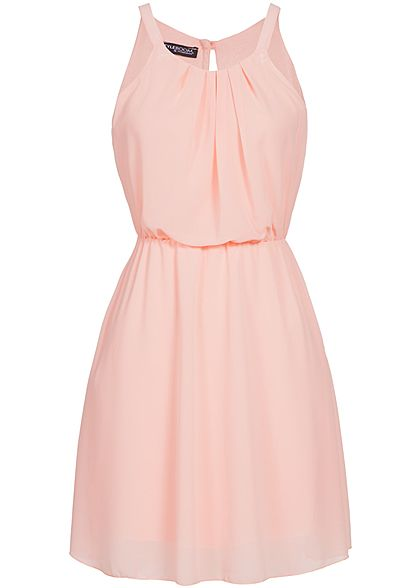 Styleboom Fashion Damen Mini Chiffon Kleid 2-lagig rosa