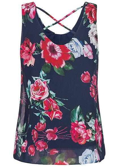 Styleboom Fashion Damen Chiffon Top Blumen Muster Schnüre hinten navy blau rot