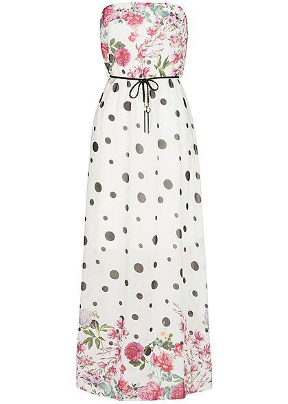 b3d11814fff Styleboom Fashion Damen Longform Bandeau Kleid Punkte   Blumen weiss  schwarz rosa - 77onlineshop