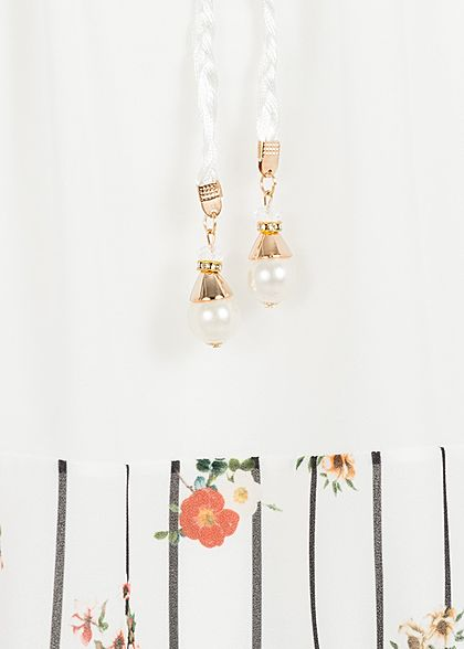 Styleboom Fashion Damen Kleid Streifen & Blumen Muster 2-lagig weiss schwarz