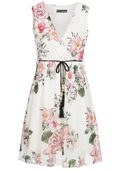 styleboom fashion damen mini kleid bindeg rtel blumen muster weiss rosa 77onlineshop. Black Bedroom Furniture Sets. Home Design Ideas