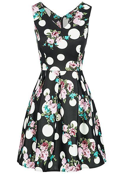 c73e9f9709f Styleboom Fashion Damen Mini Kleid Blumen   Punkte Muster Brustpads schwarz weiss  rosa - 77onlineshop